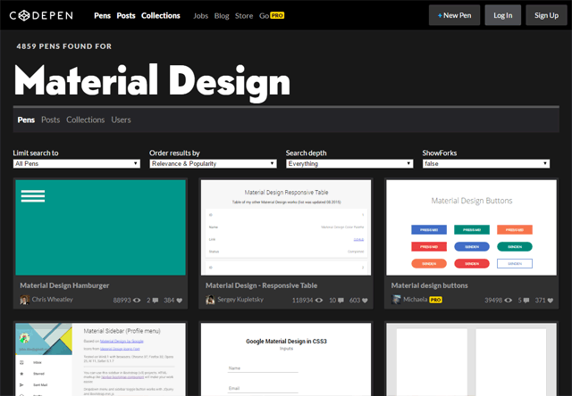 CodePen: Material de Design